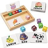 Coogam Bloques de Color Juegos de ortografía, Juguete de Madera con Letras a Juego con Palabras, Tarjetas Flash, Alfabeto ABC, Aprendizaje Educativo, Rompecabezas Montessori, Regalo para niños