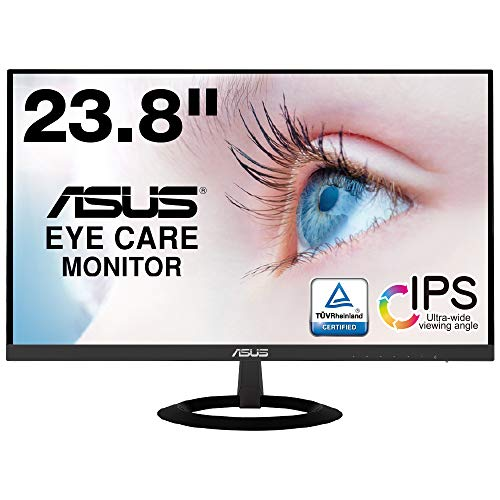 ASUS VZ249HR Flameless Monitor, 23.8 Inches, IPS, 0.3 inch (7 mm) Thin, Blue Light Reduction, Flicker-free, HDMI Speaker Included