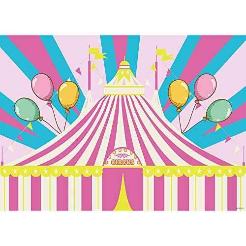 Allenjoy 7x5ft Pink Tent Circus Carnival Theme Backdrop for Girls Kids First 1st Birthday Party Banner Newborn Baby Shower Dessert Table Decorations Colorful Balloons Background Photo Studio Props