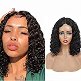 Perruque Bresilienne 4x4 Human Hair Lace Front Wig Short Bob 130% Density Glueless Deep Wave Human Transparent Closure Wig Natural Hairline 8 Inch
