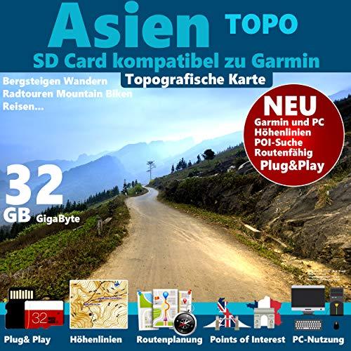 ★ASIEN (inkl China+Indien) Topo GPS Strassenkarte für Navigationsgerät mit Höhenlinien 32GB microSD für Garmin...