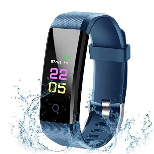 Fitness Tracker mit Blutdruckmessung, Smartwatch Wasserdicht IP67 Fitness Armband mit Pulsmesser, Fitness Armband Kalorienzähler Schrittzähler Aktivitätstracker Schlafmonitor für Damen Herren