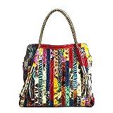 Segater® Damen Multicolor Einkaufstasche Echtes Leder Handtasche Bunte Patchwork Große...