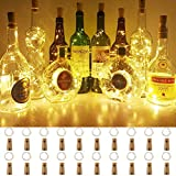 BACKTURE Luz de Botella, 2M 20 LED Guirnaldas Luminosas Botellas de Vino, Luces LED Decoración de Luces para Boda, DIY Fiesta, Adornos de Navidad - Blanco Cálido (20 pack)