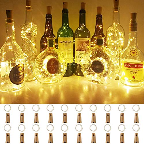 BACKTURE Luci per Bottiglia, Luci Stringa per Bottiglia di Vino, 2M 20LED Catena Luminosa Impermeabile per DIY, Natalizie, Halloween, Matrimonio, Idea regalo - Bianco cald (20 Pezzi)