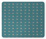 Mauspad Ballett Ballerinas In Bewegung Rose Blumen Sterne Und Herzen Hand Gezeichnete Cartoon Cadet Blau Und Rechteck Customized Mousepad Mouse Mat Personalisierte 25X30Cm Komfort