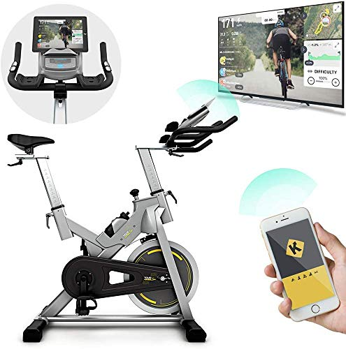 Bluefin Fitness TOUR SP Hometrainer Bike | Heimtrainer SP Speed Fahrrad Trainingsfahrrad | Kinomap Smartphone App - Live Video Coaching & Training | Bluetooth | Schwarz & Grau Silber