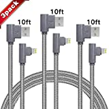 3-Pack 10 FT 90 Degree Data Cable iPhone Charger Fast Charging Cord Compatible with iPhone Xs/Max/XS/XR/7/7Plus/X/8/8Plus/6S/6 Plus/SE (Gray) -  Golicc
