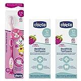 Chicco Oral Care para niños de 3-6 años, Cepillo dental + 2 x Pasta de dientes 12 m+ con flúor y cálcio biológico, sabor fresa (BIO)