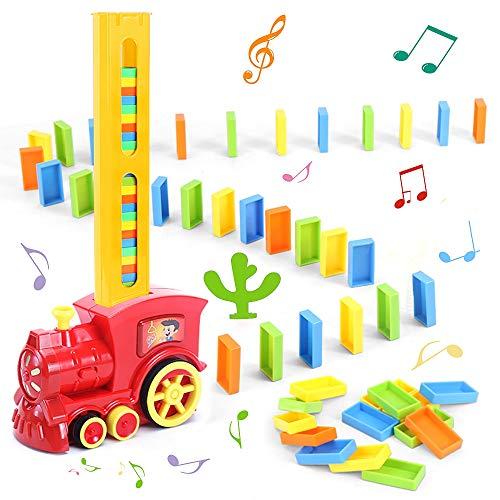 Latocos Domino Elektrozug Spielzeug 80 Stück Domino Rallye Spiel und Elektrischer Zug mit Licht Ton, Dominosteinen Elektrischer Zug Set Domino Bausteine Lernspielzeug für Kinder