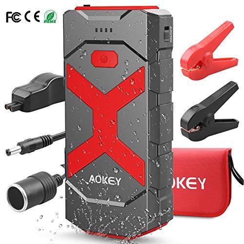 AOKEY Auto-Starthilfegerät, tragbares Autobatterie-Ladegerät, Autobatterie-Booster tragbar mit Dual-USB-Anschlüssen für Autogerät und LED-Taschenlampe, super sicheres Starthilfekabel