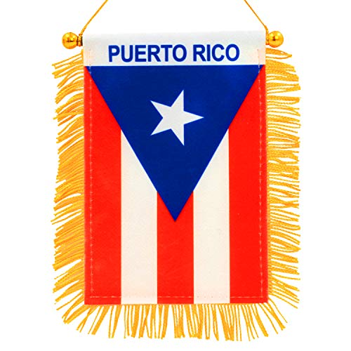 Anley 4 X 6 Inch Puerto Rico Fringy Window Hanging Flag - Mini Flag Banner & Car Rearview Mirror Décor - Fringed Puerto Rican Hanging Flag with Suction Cup
