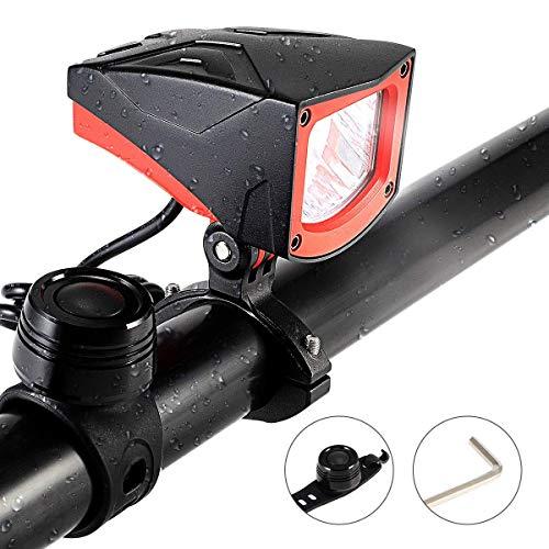 Novsight Led-koplamp, voorlamp, voor fiets, met RF-batterij, extra helder, 140 lux, set met 3 helderheidsniveaus, StVZO IP65, waterdicht aluminium