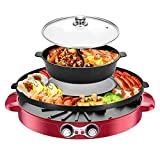 ZRSLGS Removable Hot Pot with Grill, Separable Shabu Hot Pot with Independent Temperature Control for 2-8 People Family Gathering Friend Meeting Party