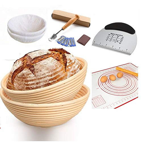 Bread Baking Bowl Set -10 and 9 Inches Round Banneton Bread Proofing Basket for Oven Safe with Linen Liner Sourdough Baker's Scraper Dough Lame Baking Mat Artisan.