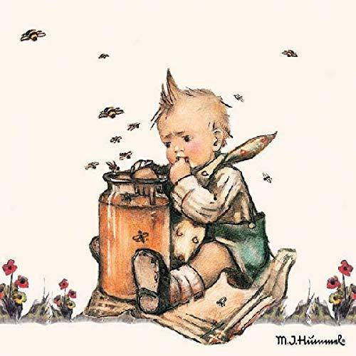 Ambiente Serviette Motiv : Hummel Honey Lover - Junge mit Honigtopf - 20 Servietten pro Packung, 33x33 cm