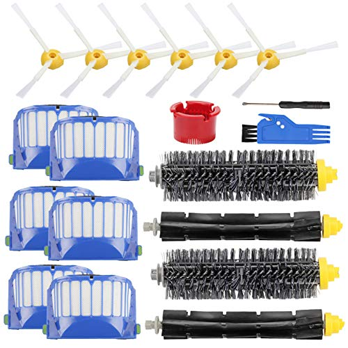 Replacement Parts Accessory for iRobot Roomba 600 500 Series 692 690 680 660 651 650 620(Not for 645 655 675)564 552 Vacuum Cleaner Replenishment Kit, 6 Filter 6 Side Brush 2 Bristle & 2 Beater Brush