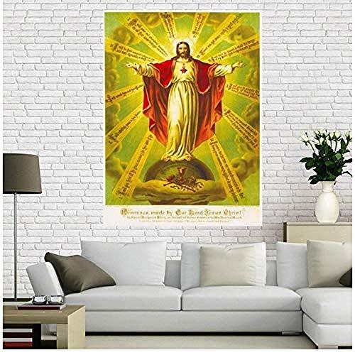 Canvas print,canvas poster Barmhartigheid van Jezus Poster Woondecoratie doek stof muurposter print-60x80cm