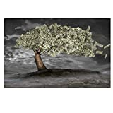 HYY-YY Dinero dólar árbol del Dinero millonario Pintura Moderna Lienzo póster Impresiones Arte de la Pared Imagen Living Kid Cuadros decoración de la Pared (60x90cm) sin Marco