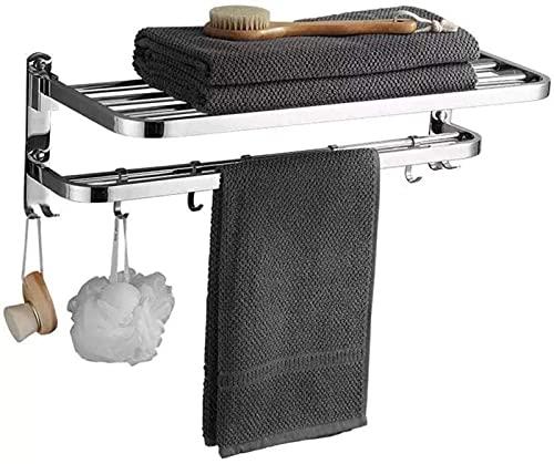 MWKL Toallero, 304 Acabado pulidoi Barra de suspensión de Acero Inoxidable, 90 Toallero Plegable, para Cocina, baños, lavabos, armarios, 48 cm