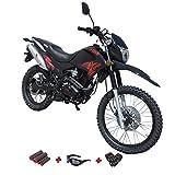 X-Pro Hawk 250 Dirt Bike Motorcycle Bike Dirt Bike Enduro Street Bike Motorcycle Bike with Gloves, Goggle and Handgrip,Black