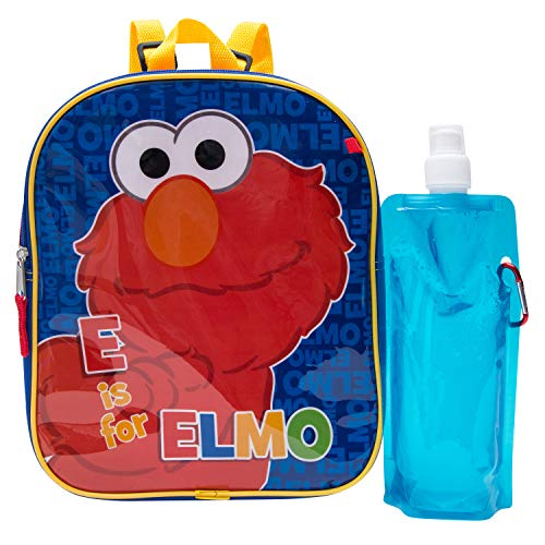 Sesame Street Elmo 3 Piece Backpack Combo Set -Waterbottle and Carabina