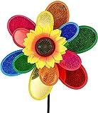 Blcnk Chi Garten Wind Spinner, Sonnenblume Windmühlen Rasen Dekor, 12-Zoll-Regenbogen-Nadelwäder für Garten- und Garten, Outdoor-Rasenornamente Wind-Spinner Yard Art (1 stücke)