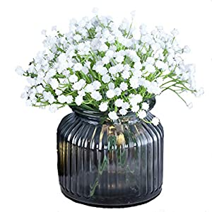 UUPP Artificial Baby Breath Flowers 4 Bunches White Fake Gypsophila Flower Decor for DIY Wedding Home Party, 7.5 Inches