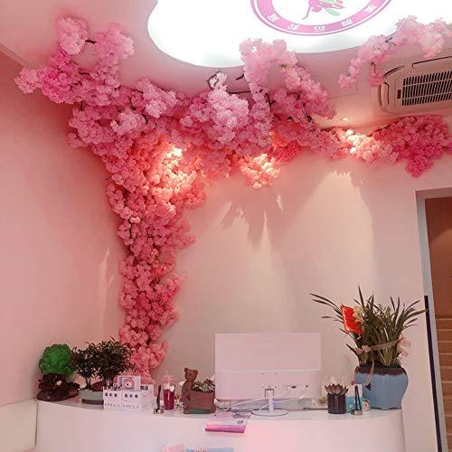 BCXGS Árboles de Flor de Cerezo Artificiales Hechos a Mano Rosa Flor de Seda Fake Vines Artificial Flower Interior Exterior Oficina en casa Fiesta de la Boda Pared decoración para el hogar