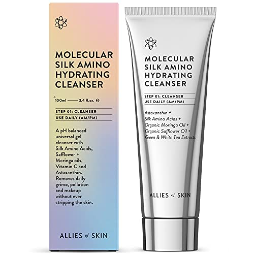 Allies of Skin Molecular Silk Amino Hydrating Cleanser: Hyaluronic Acid, Ceramides, Safflower & Moringa Oils. Nourishes, Conditions & Repairs 3.4 oz