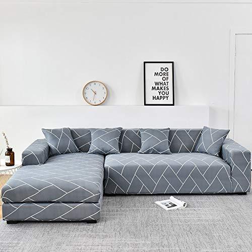 WXQY Funda de sofá de Esquina para Sala de Estar, Funda de sofá Chaise de sofá elástico en Forma de L Compra 2 Piezas, Funda de sofá Todo Incluido A8 de 3 plazas