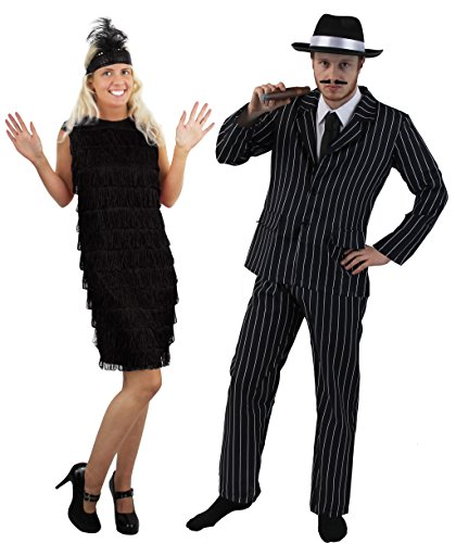 I LOVE FANCY DRESS LTD 1920's=Gangster Paare= Halloween -Karneval -Fasching=NADELSTREIFEN Anzug IN 5 GRÖSSEN +Gangster Hut+ ZIGARRE+SCHNÄUTZER +FRANSEN Kleid+Stirnband+Feder = Anzug-L+Kleid/SCHWARZ-M