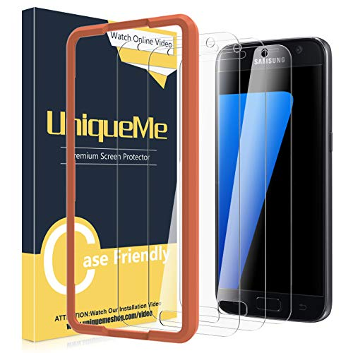 [3 Pack] UniqueMe Screen Protector for Samsung Galaxy S7 Tempered Glass,[Alignment Frame] Easy Installation HD-Clear Anti-Scratch