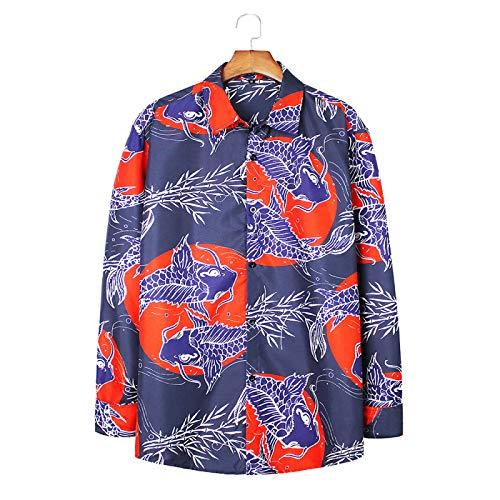 Men's Long-Sleeved Shirts European and American Retro Fashion Printed Personalized Shirts Fashion Loose Casual Lapel Shirts M