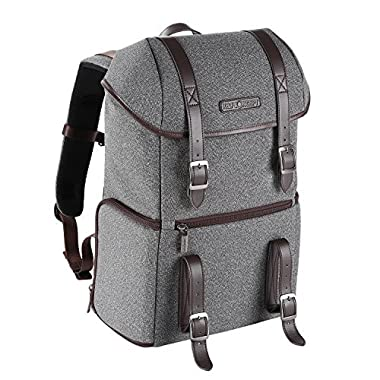 K&F Concept DSLR Camera Backpack Multifunctional Waterproof Nylon Bag with 24L Capacity for 14  Laptop,Camera, Tripod,Lenses and Photography Accessories