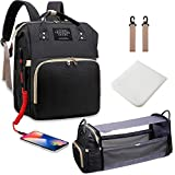 3 in 1 Diaper Bag Backpack with Changing Station, Diaper Bag for Baby Boys Girls with USB Port and Foldable Travel Bed, Large Capacity, Waterproof, Unisex Stylish Baby Bag for Dad Mom (Black)