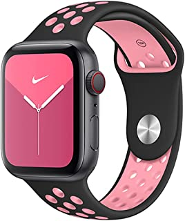 Sport Silicone Strap Band Apple Watch 44mm / 42mm Series 1/2/3/4/6 SE Replacement Strap Wristband Bracelet - Black & Pink