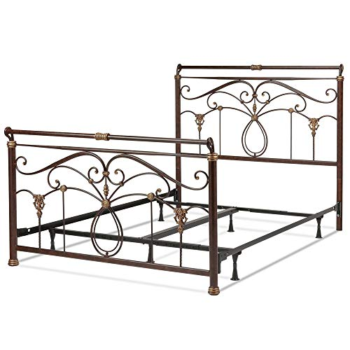 Leggett & Platt Lucinda Complete Metal Bed and Steel Support Frame with Intricate Scrollwork and Sleigh-Styled Top Rails, Marbled Russet Finish, Full