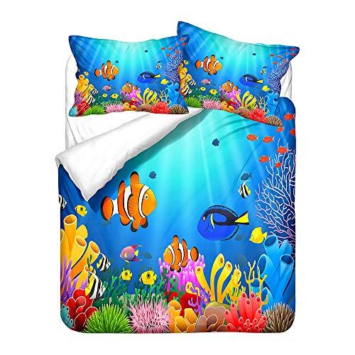 Copripiumino Oceano Animale Lenzuola Letto Pesce Corallo Stella Marina per Bambini Adulto Set Biancheria Matrimoniale con 1 Copripiumino + 2 Federes, Microfibra (Arancia, 200_x_200_cm)