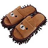 Selric [Bear Image] Super Chenille Microfiber Washable Mop Slippers Shoes for Women, Floor
