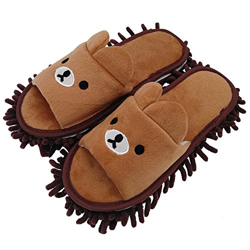 Selric Bear Super Chenille Microfiber Washable Mop Slippers Shoes for Women, Floor Dust Dirt Hair Cleaner, Multi-Sizes Multi-Colors Available 9 7/9 Inches Size:5.5-8.5.