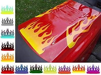 East Coast Vinyl Werkz Lawn Mower Decals - Hot Rod Flames - 3pc Set - for Craftsman Murray Snapper  Hot Summer Fire   Citrus