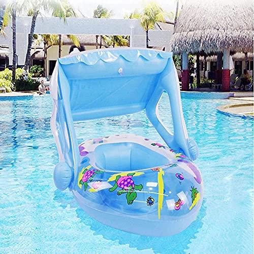 Flotadores Piscina de agua para bebés Flotador con techo paraguas del bebé para el entrenador de natación de bote inflable del bebé nadando de 5 a 36 meses