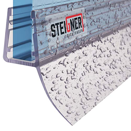 STEIGNER Duschdichtung, 200cm, Glasstärke 6/7/ 8 mm, Gerade PVC Ersatzdichtung für Dusche, UK12