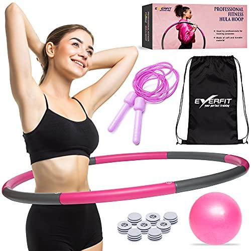 EVERFIT Hula Hoop Reifen Fitness für Erwachsene zur Gewichtsabnahme (auch für Anfänger) - Set Inkl. Pilates Ball + Springseil + Rucksack – Befüllbar – Anpassbare Größe (80-90cm) - ca. 1kg