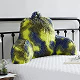 JILLCHE BED Fur Reading Pillow w/ Unique Camo Design, Fluffy Cozy Bed Rest Pillow Lounge Cushion with Arms for Adults & Kids, Back Pillow for Sitting in Bed Couch Chair, Husband Pillow, Ecstatic Gift