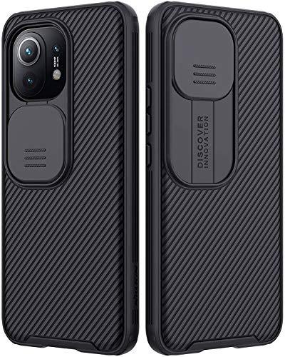RosyHeart Funda Compatible con Xiaomi Mi 11, Protección de Cámara Carcasa Compatible con Xiaomi Mi 11, Cubierta Deslizante Cámara Delgado Ligera Rígida PC Anti-Golpes Caso - Negro
