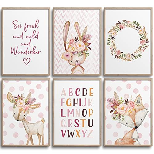 Frechdax® 6er Set Poster Kinderzimmer - A4 Bilder Babyzimmer - Deko Mädchen