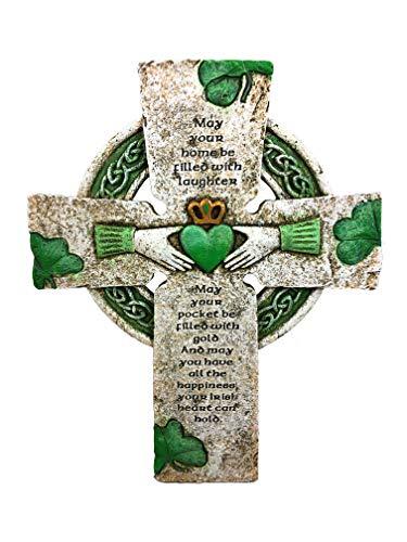 YMG Home Decor Irish Celtic Wall Cross with Claddagh Symbol Traditional Prayer Trinity