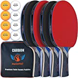 MaxMVMT Ping Pong Paddle Set - Carbon Fiber 7 Ply Blades - Premium ITTF Approved Rubber - Complete 4 Player Table Tennis Setup - Attractive Portable Case - 8 Balls - 2 Wristbands - 1 Cleaning Sponge